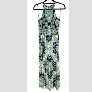 LONDON TIMES paisley cutout v neck maxi dress Sz 8